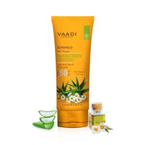 Sunscreen Lotion Spf 50 With Aloe Vera & Chamomile (110 Ml)